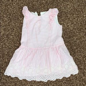Gap eyelet pink and white striped dress